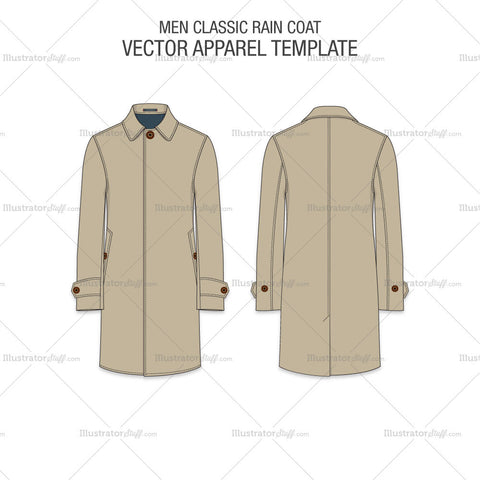Men Classic Raincoat Vector Template