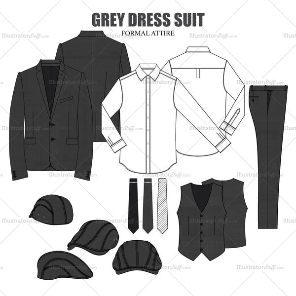 Men's Formal Dresswear Inspired Fashion Flat Template Set