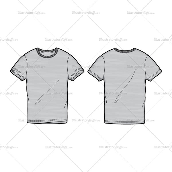 men 39 s gray round neck t shirt fashion flat template illustrator stuff. Black Bedroom Furniture Sets. Home Design Ideas