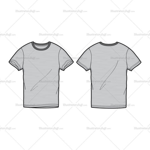 Men's Gray Round Neck T-shirt Fashion Flat Template