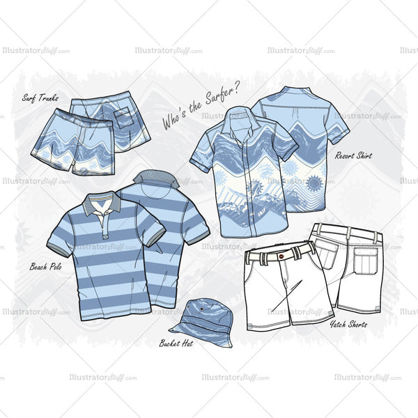 Men's Who's The Surfer Fashion Flat Template Set