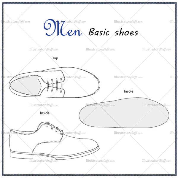 Men's Basic Shoes Fashion Flat Template