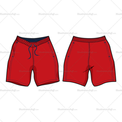 Men's Red Swim Shorts Fashion Flat Template