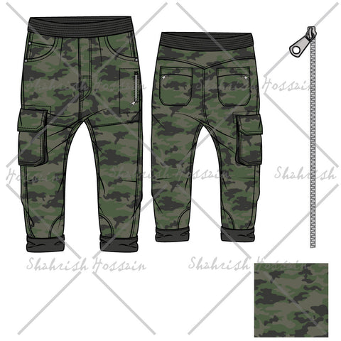 Men's Camouflage Pants Fashion Flat Template