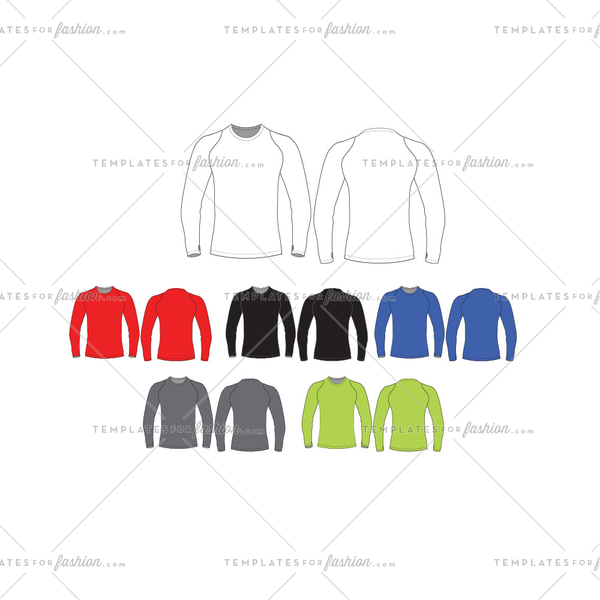 Mens Long Sleeve Muscle T-Shirt Fashion Flat Templates