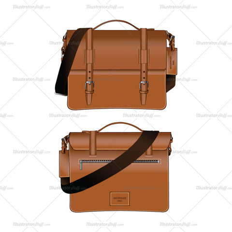 Leather Messenger Bag Fashion Accessory Fashion Flat Template