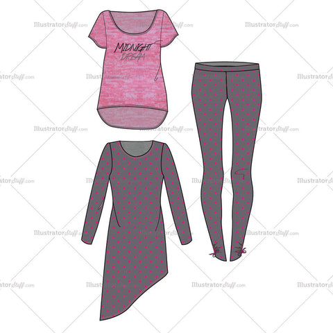 Women's Midnight Dream Pajama Fashion Flat Template