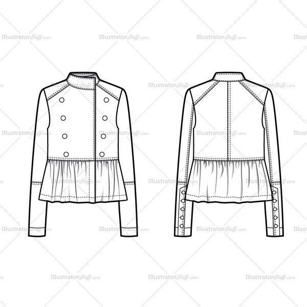 Military Ruffle Hem Jacket Flat Template