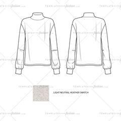 Women Sketch of a Mock Neck Bubble Long Sleeve Top