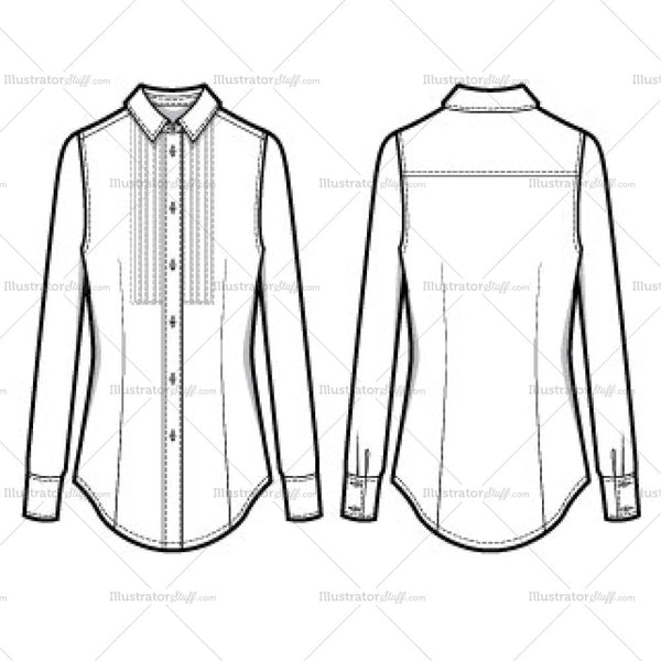 Women's Modern Tuxedo (pleated) Button Down Shirt Fashion Flat Template