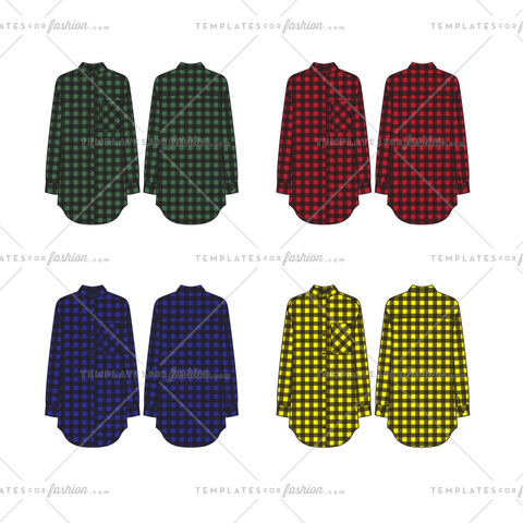 Unisex Multi Color Checked Oversized Button Down Shirt