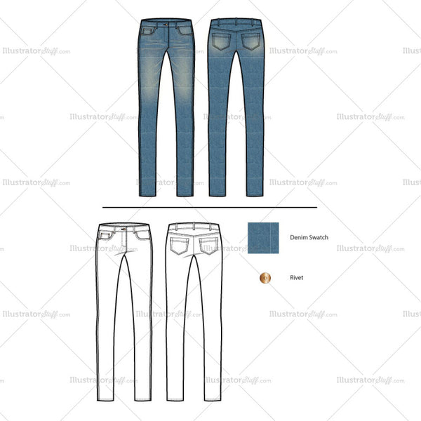Women's Classic Slim Fit Jeans Fashion Flat Template