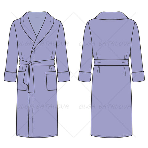 Men's Bath Robe Fashion Flat Template