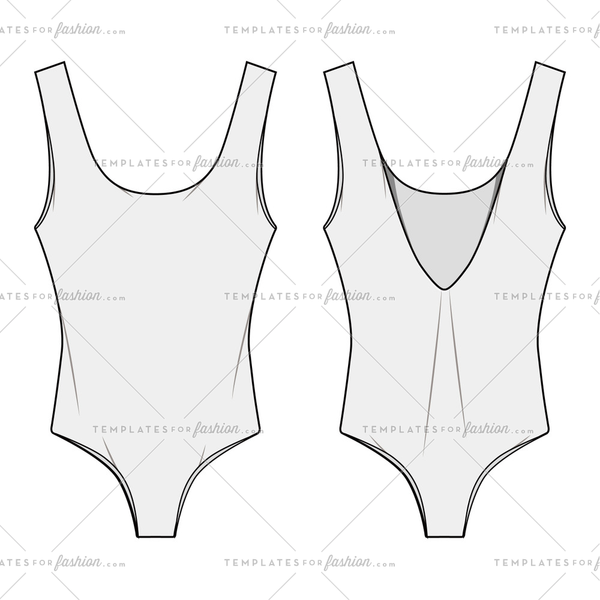 ONE PIECE SWIM SUIT Fashion Flat Templates