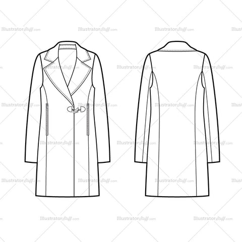 One Clasp Coat Flat Template