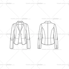 Women Sketch of a Single Button Closure Leather Pu Fitted Blazer