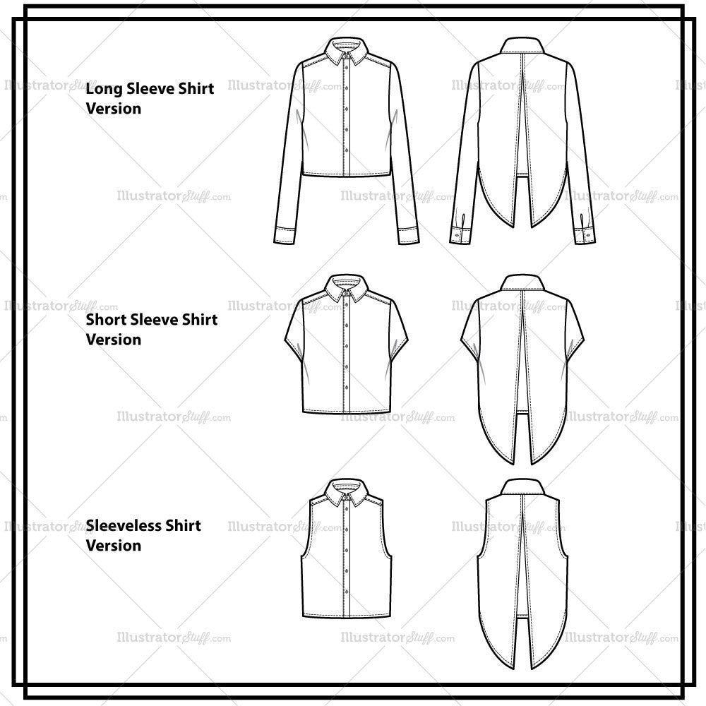 Open back cropped shirt 3 sleeve lengths flat template open back cropped shirt 3 sleeve lengths flat template pronofoot35fo Images