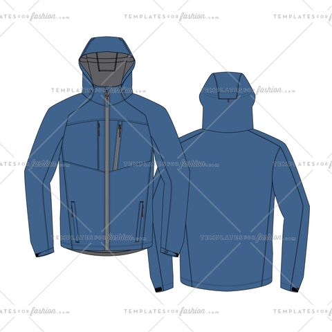 Outdoors hooded rain jacket fashion flat vector file