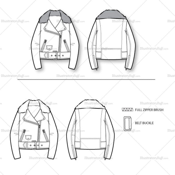 Women's Oversized Biker Jacket Fashion Flat Template
