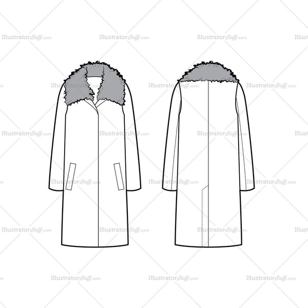 Oversized Coat With Shearling Collar Flat Template