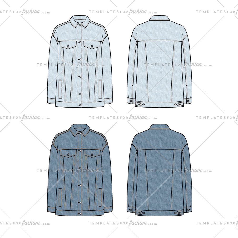 Unisex Oversized Denim Jacket 2 Swatches Templates For Fashion