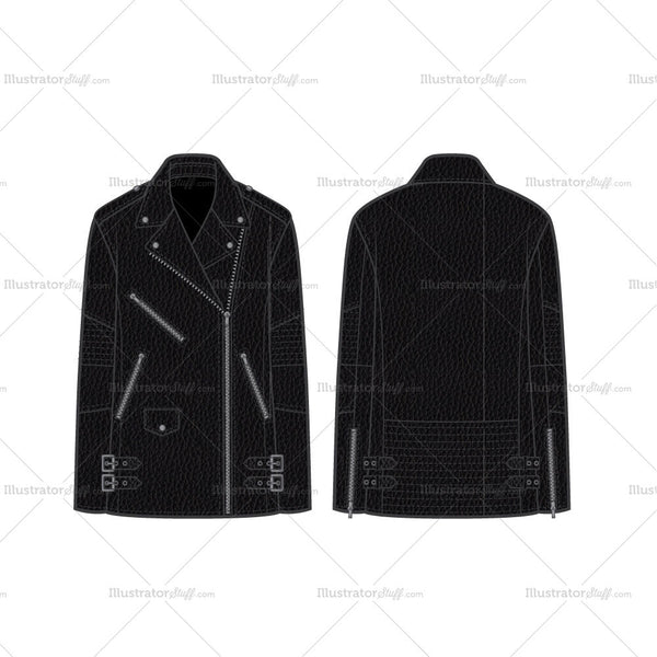 Oversized Moto Leather Jacket With Side Waist Tabs Flat Template
