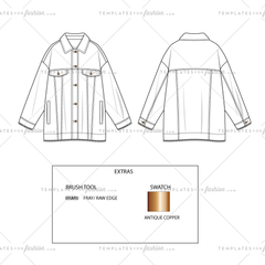 Unisex Oversized Shirt Jacket Overshirt with Raw hem and Rolled Cuffs