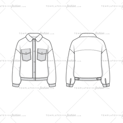 Women Sketch of an Oversized Sherpa and Woven Trucker Jacket