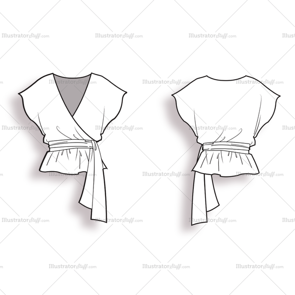 Wrap Blouse With V-neck And Short Sleeves. Fastens At The Side With A Bow