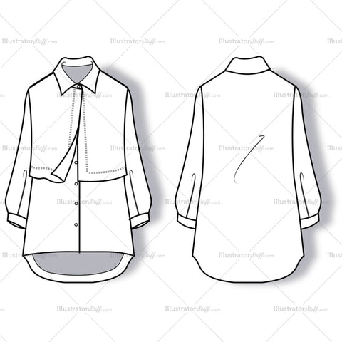 Flowing Shirt With Collar And Long Cuffed Sleeves.