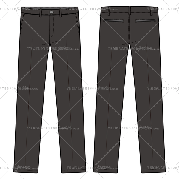 PANTS FORMAL TROUSERS fashion flat sketch template
