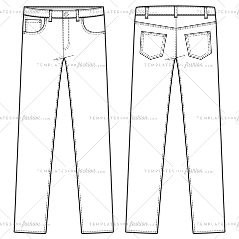 PANTS JEANS fashion flat sketch template