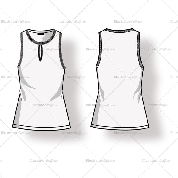 Women's Sleeveless Keyhole Ribbed Blouse Fashion Flat Template