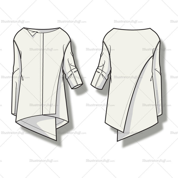 Women's Asymmetrical Draped Blouse Fashion Flat Template