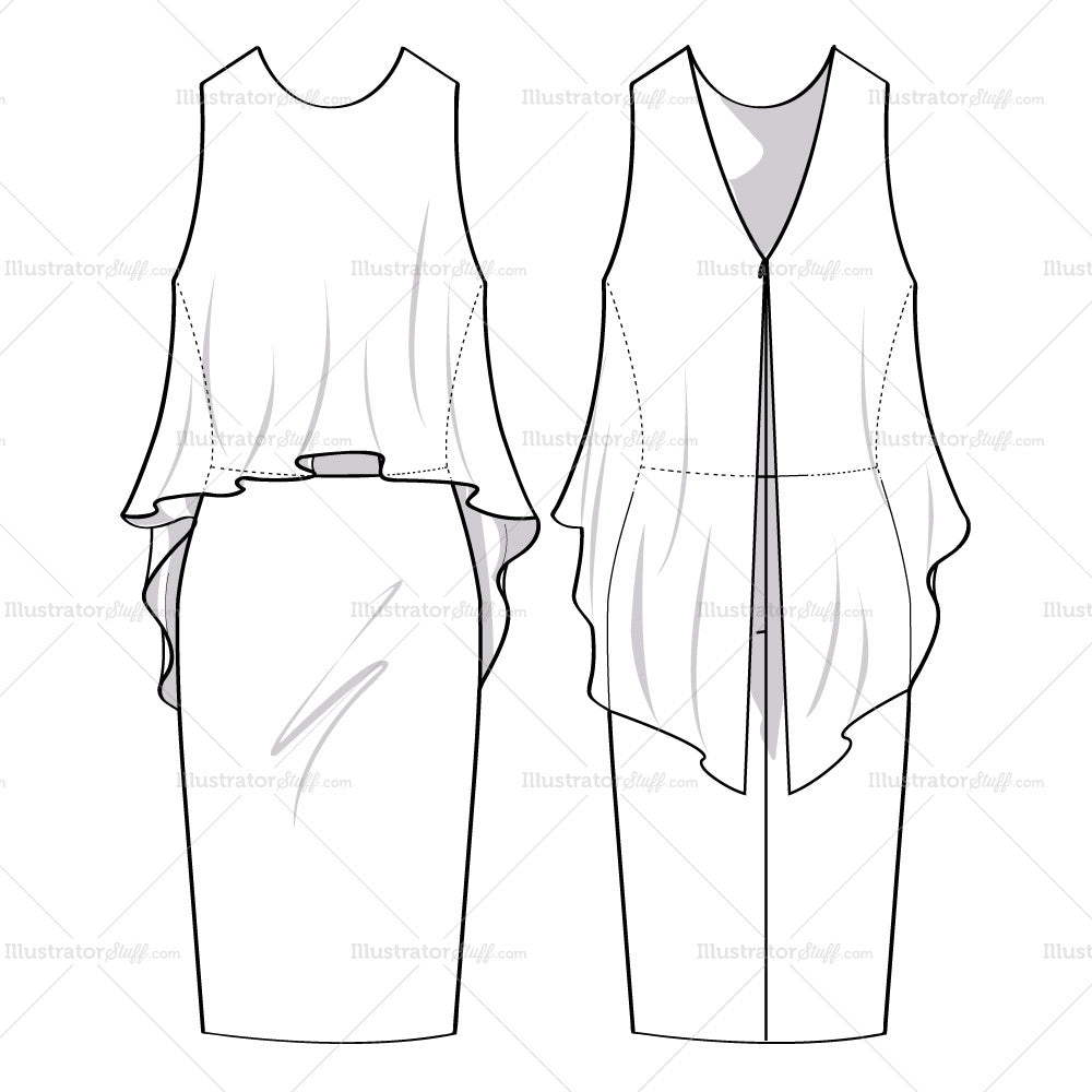 Women 39 s flowy dress fashion flat template templates for for Clothing templates for illustrator