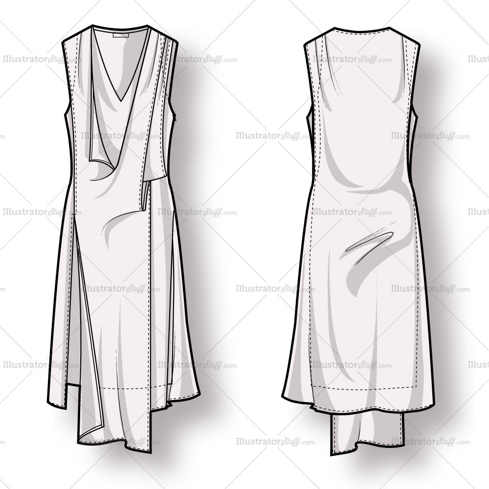 Unique Womens Racer Back Tank Dress Fashion Flat Template  Illustrator