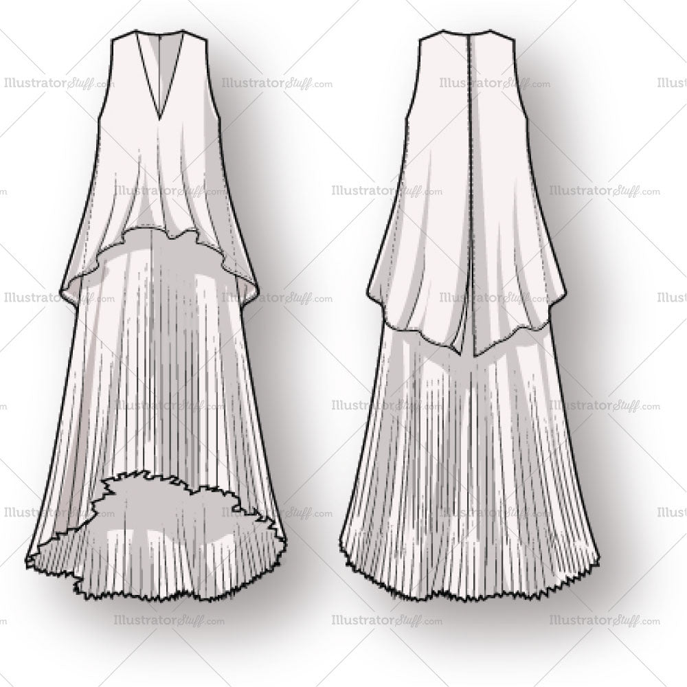 Women S Pleated Dress Fashion Flat Template Illustrator