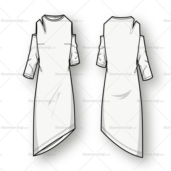 Women's Asymmetrical Cutout Dress Fashion Flat Template