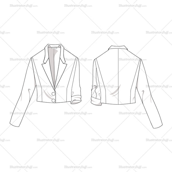 women u0026 39 s cropped jacket fashion flat template  u2013 illustrator