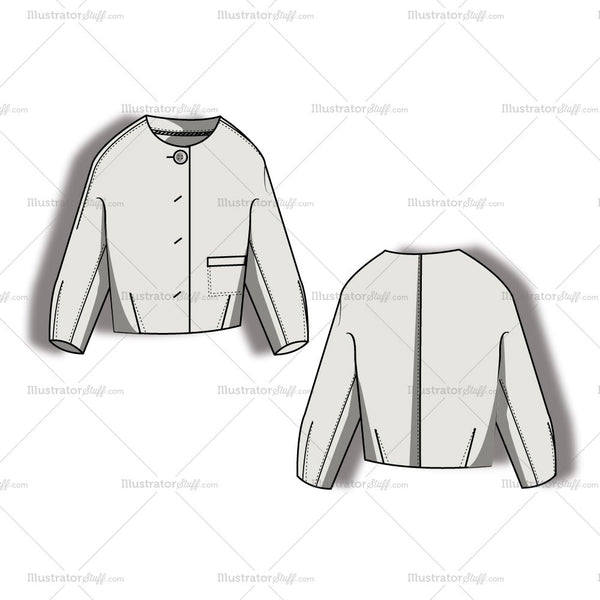 Women's Button Up Jacket Fashion Flat Template
