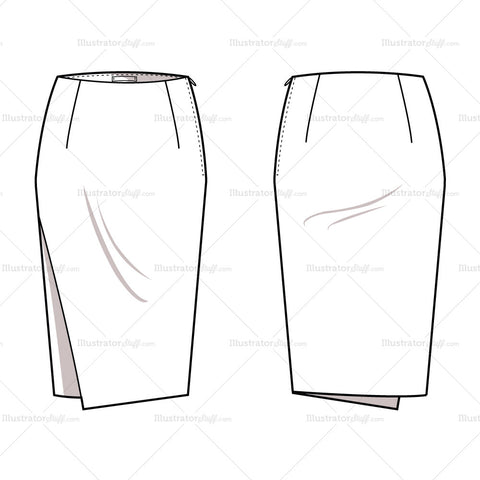 Women's Asymmetrical Pencil Skirt Fashion Flat Template