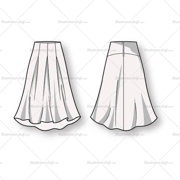 Women's Box Pleat Skirt Fashion Flat Template