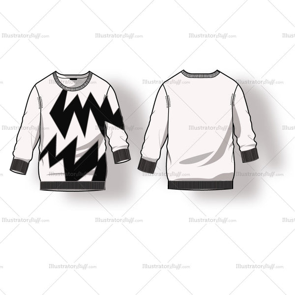 Women's Ribbed Sweater with Colorblock Fashion Flat Template