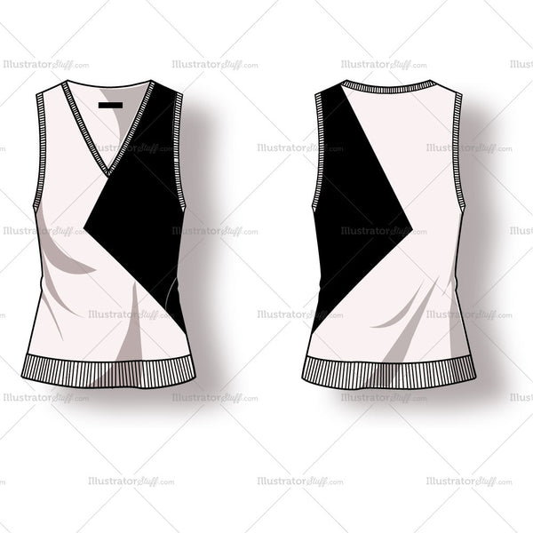 Women's Sweater Vest with Colorblock Fashion Flat Template