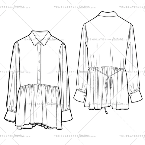 WOVEN BUTTON-UP PEPLUM BLOUSE