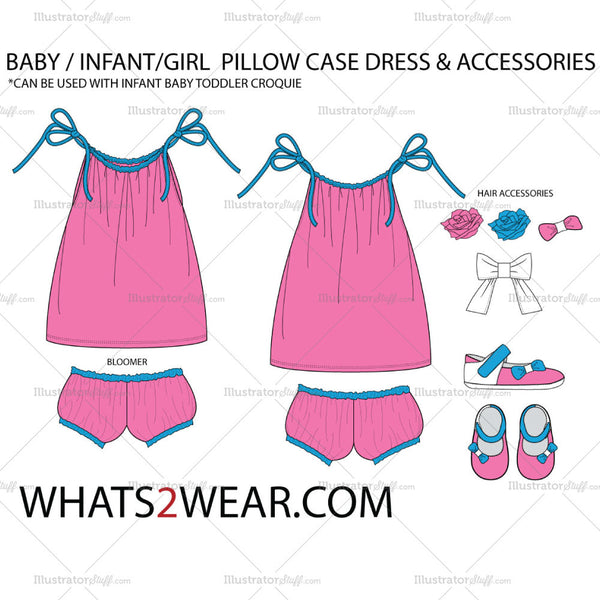 Baby / Infant Pillow Case Dress Fashion Flat Template