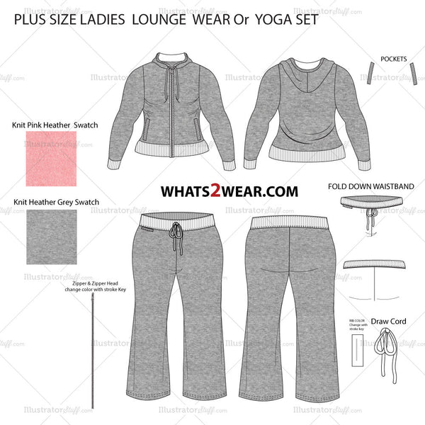 Women's Plus Size Hooded Lounge Wear or Yoga Set Fashion Flat Template