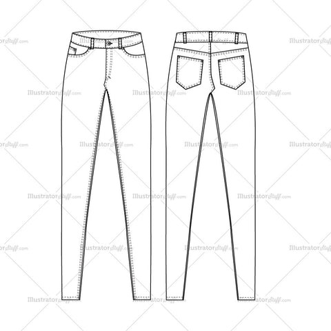 Women's Super Skinny High Waist Jeans Fashion Flat Template