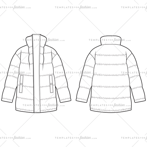 Padded jacket Fashion Flat Templates
