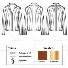 Paneled Leather Jacket Flat Template